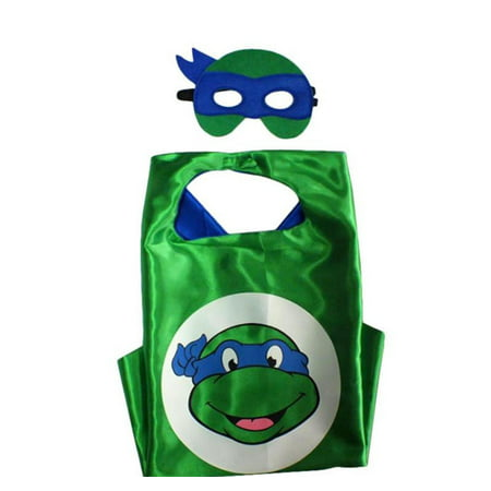 Cartoon Costume - TMNT Leo Turtle Logo Cape and Mask with Gift Box by Superheroes - Nickelodeon Halloween Specials