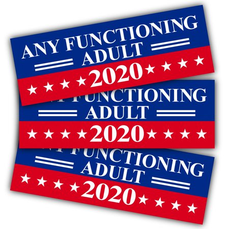 Reflective Auto Decals - ANLEY 9 X 3 inch Any Functioning Adult 2020 Decal - Car and Truck Reflective Bumper Stickers - 2020 United States Presidential Election (3 Pack)