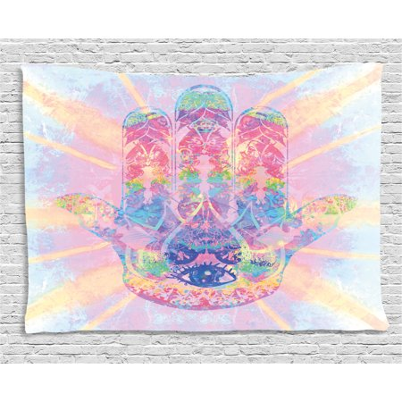 Hamsa Tapestry, Spiritual Energy Flow Aura Inspired Design Harmony Yoga Meditation Theme, Wall Hanging for Bedroom Living Room Dorm Decor, 60W X 40L Inches, Aqua Pale Pink Peach, by (Aqua Aura Point)