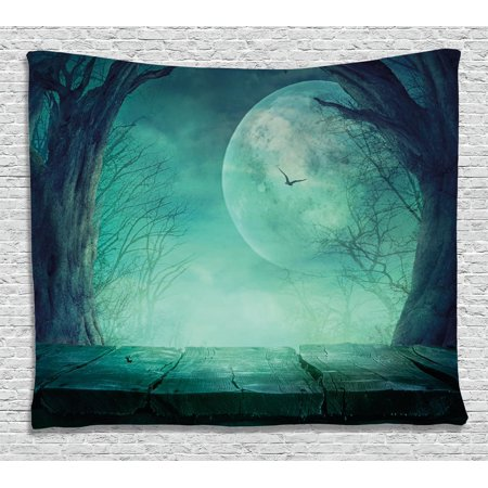Haunted Forest Ideas For Halloween (Halloween Decorations Tapestry, Spooky Forest Moon and Vain Branches Mystical Haunted Horror Rustic Decor, Wall Hanging for Bedroom Living Room Dorm Decor, 80W X 60L Inches, Teal, by)