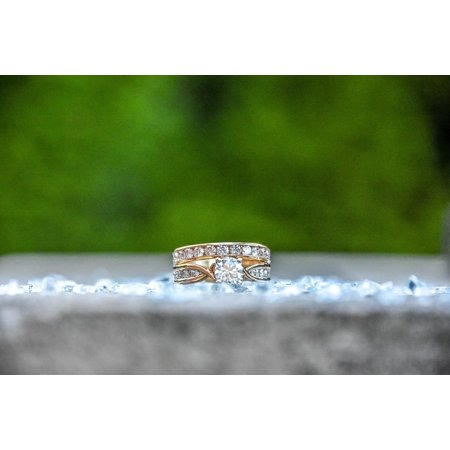 Canvas Print Ring Diamond Wedding Engagement Jewelry Stretched Canvas 10 x -
