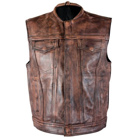 Xelement XS-39070 Mens Crypt Distressed Brown Leather Premium Cowhide Vest (Cow Vest Woody)