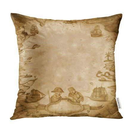 ECCOT Pirate Antique Map Ship World Mast Old Border Pillow Case Pillow Cover 20x20 - Pirate Ship Mast