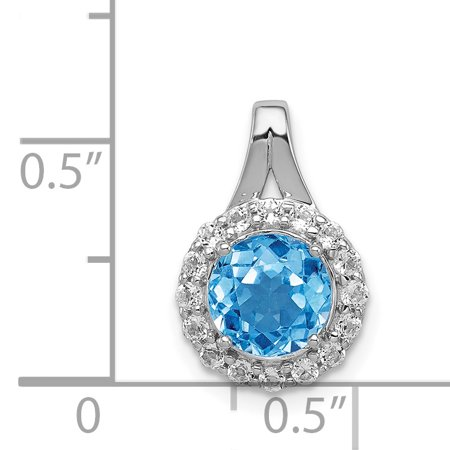 925 Sterling Silver Rhodium White Topaz and Lght Swiss Blue Topaz Circle Shaped Pendant - image 1 de 2