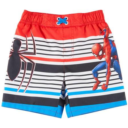 Marvel Toddler Boys Striped Spider-Man Swim Trunks 2T White multi ()