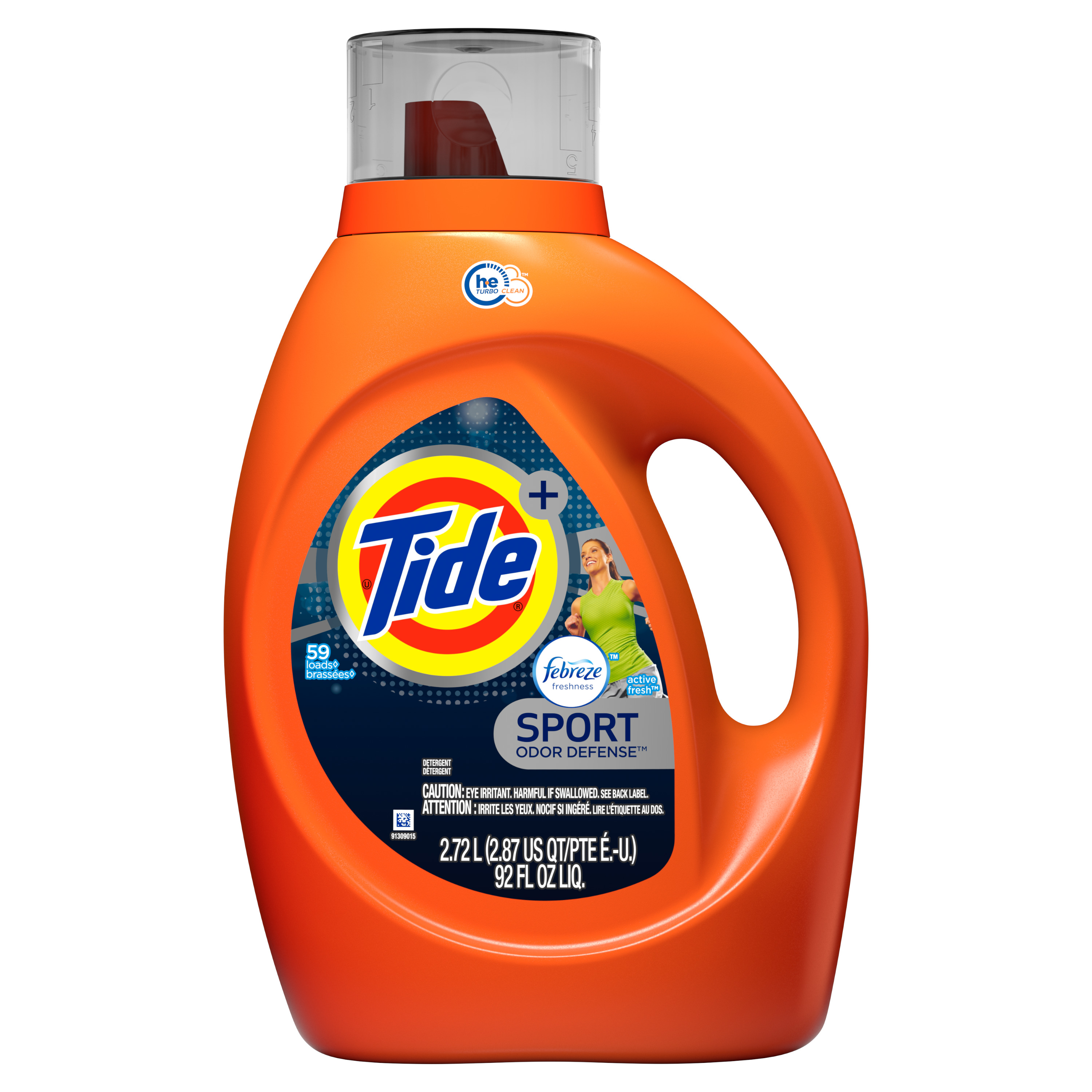 Tide plus Febreze Sport Odor Defense HE Turbo Clean Liquid Laundry Detergent, Active Fresh Scent, 59 loads, 92 oz