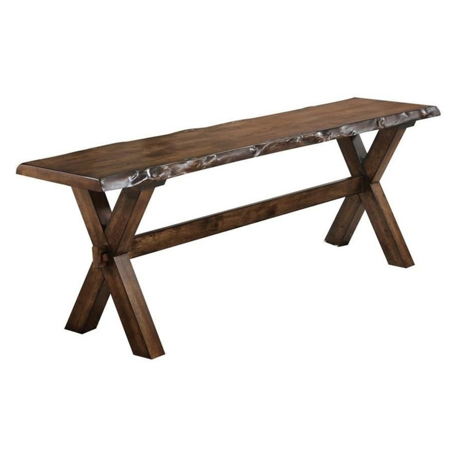 ACME Tratha Rectangular Trestle Bench in Antique Oak