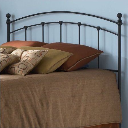 Sanford Metal Headboard Panel with Castings and Round Finial Posts, Matte Black Finish, (Stained Full Headboard)
