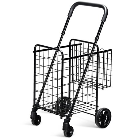 Quilted Trolley - Costway Folding Shopping Cart Jumbo Basket Rolling Utility Trolley Adjustable Handle New