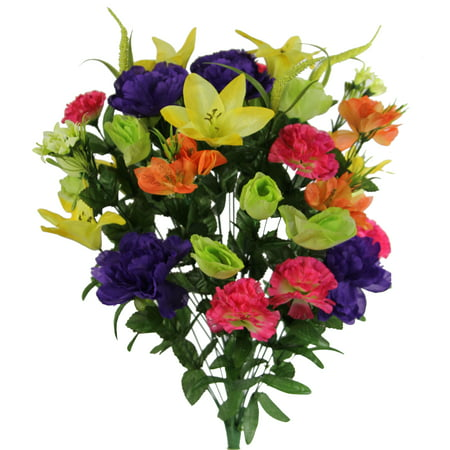 40 Stems Artificial Full Blooming Lily, Rose Bud, Carnation and Mum with Greenery Mixed Flower Bush, FRESH MIX