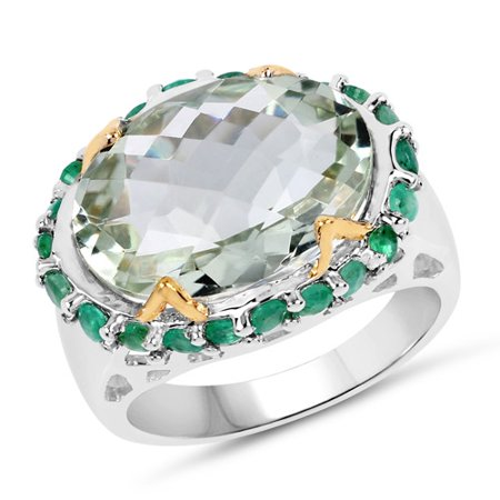 Two Tone Plated 8.86 ct. Genuine Green Amethyst and Emerald Sterling Silver Ring
