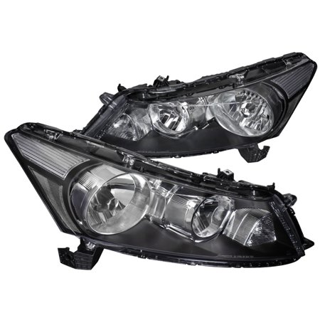 Spec-D Tuning 2008-2018 For Honda Accord 4Dr Replacement Black Headlights Head Lamps Lights (Left + Right) 2008 2009 2010 2011 2012 2013 2014 2015 2016 2017 2018