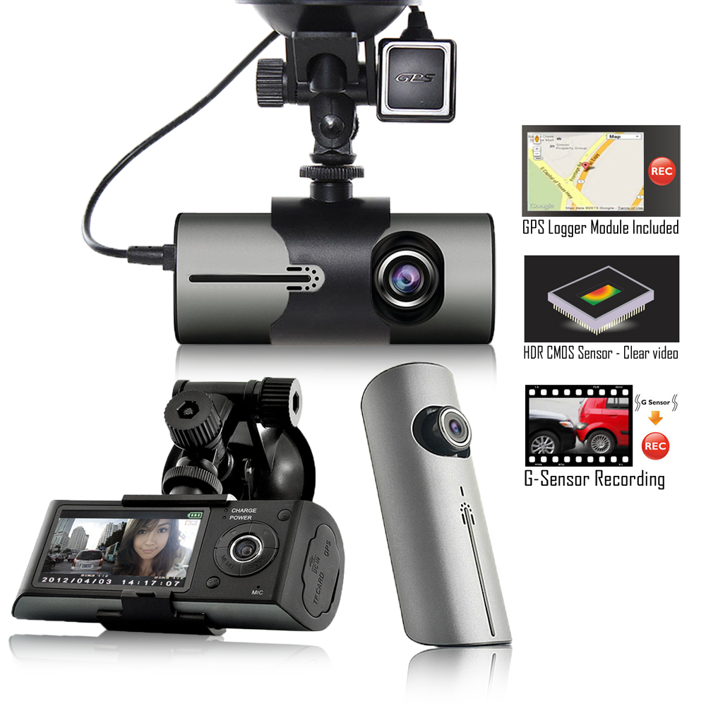 "Indigi XR300 Dash CAM + 2.7"" HD LCD + Dual Lens (180 Degree Coverage) + GPS Google"