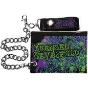 Avenged Sevenfold Men's Splatter Skull Tri-Fold Wallet Black