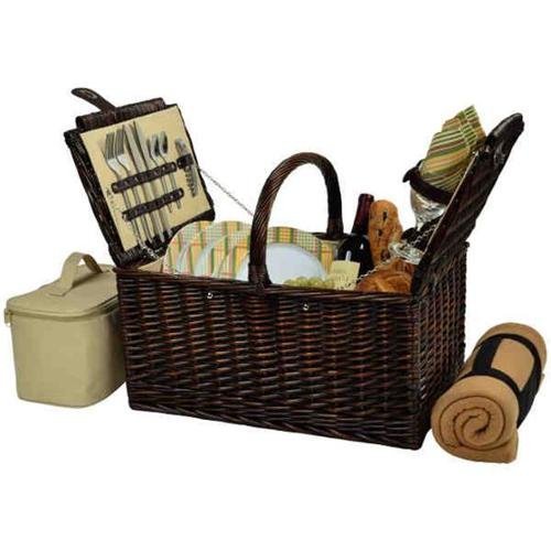 Picnic at Ascot 714B-H Buckingham Basket for 4 with Blanket-Brown Wicker-Hamptons