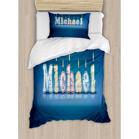 Michael Twin Size Duvet Cover Set, Kids Boys Name Letter Design for Delicious Birthday Party Cake Decoration, Decorative 2 Piece Bedding Set with 1 Pillow Sham, Blue and Multicolor, by Ambesonne