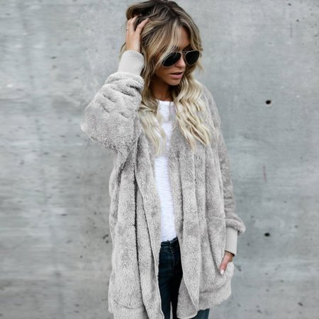 Women Hooded Cardigan Autumn and Winter Warm Faux Fur Coat Women