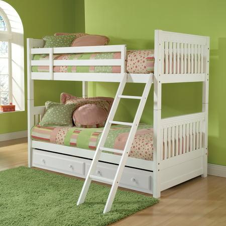 Hillsdale Lauren Bunk Bed W Trundle Storage In White