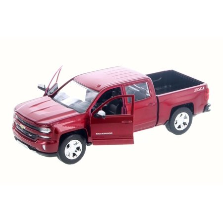 2017 Chevy Silverado 1500 LT Z71 Crew Cab Pick-Up Truck, Candy Red - Motor Max 79348/16D - 1/24 Scale Diecast Model Toy Car (Brand New but NO