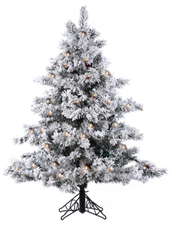 4.5' Pre-Lit Flocked Alaskan Artificial Christmas Tree ...