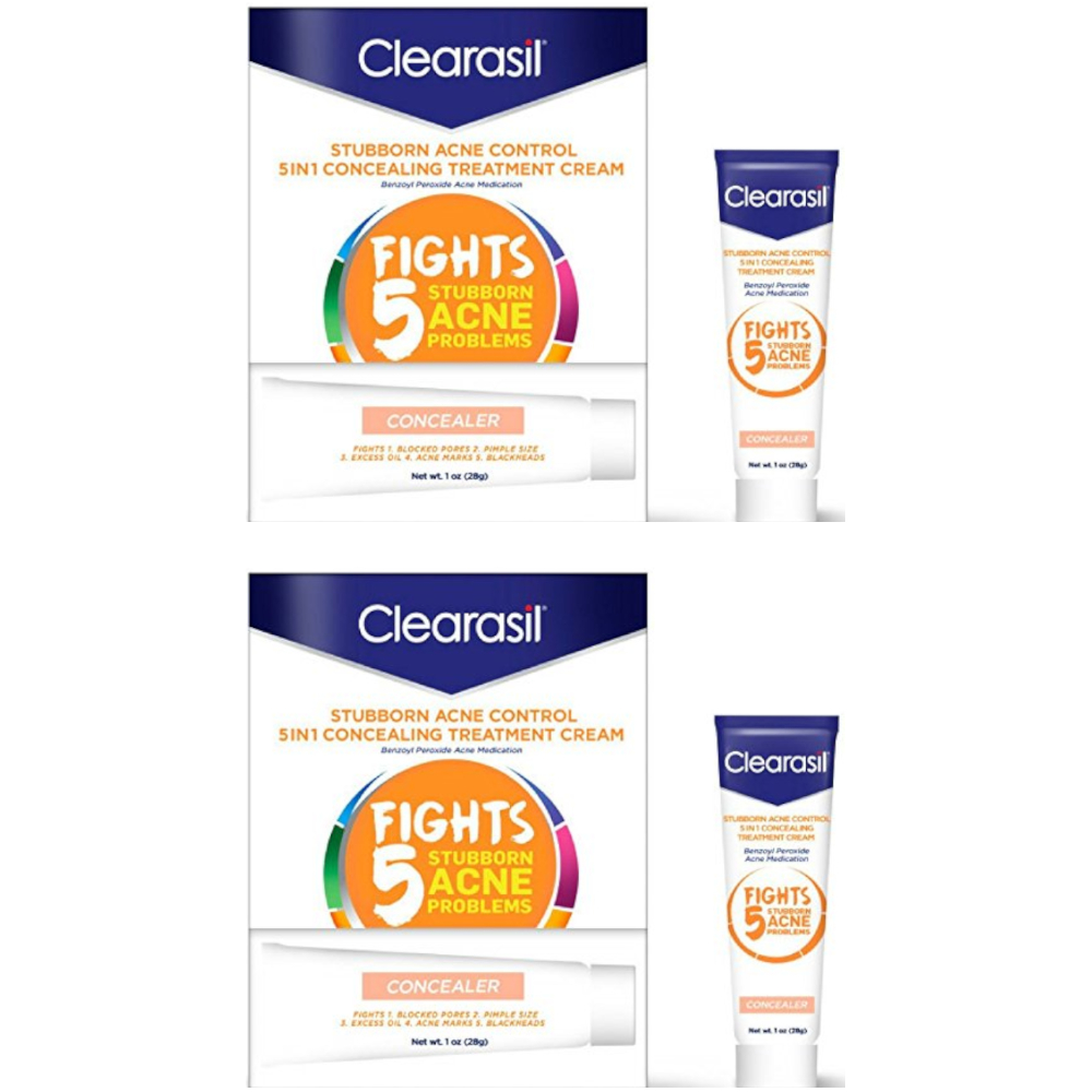 2 Pack Clearasil Daily Clear Tinted Acne Treatment Cream 1.0 Oz Each