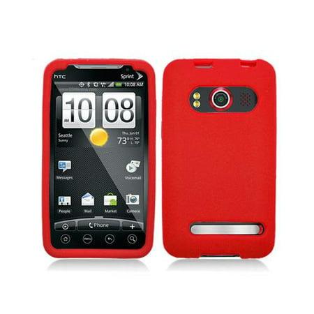 Red Silicone Skin Case Cover for HTC Evo 4G (Evo Rod)