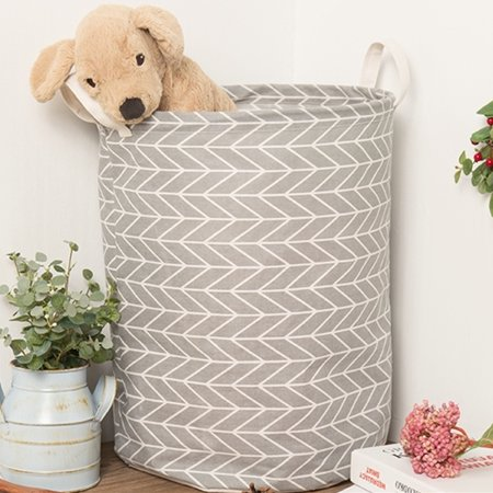 Foldable Laundry Hamper Washing Dirty Clothes Storage Cotton Linen Laundry Basket Hamper Canvas Toy Storage Organizer Bag Home Household 13.78x17.72 inch ()