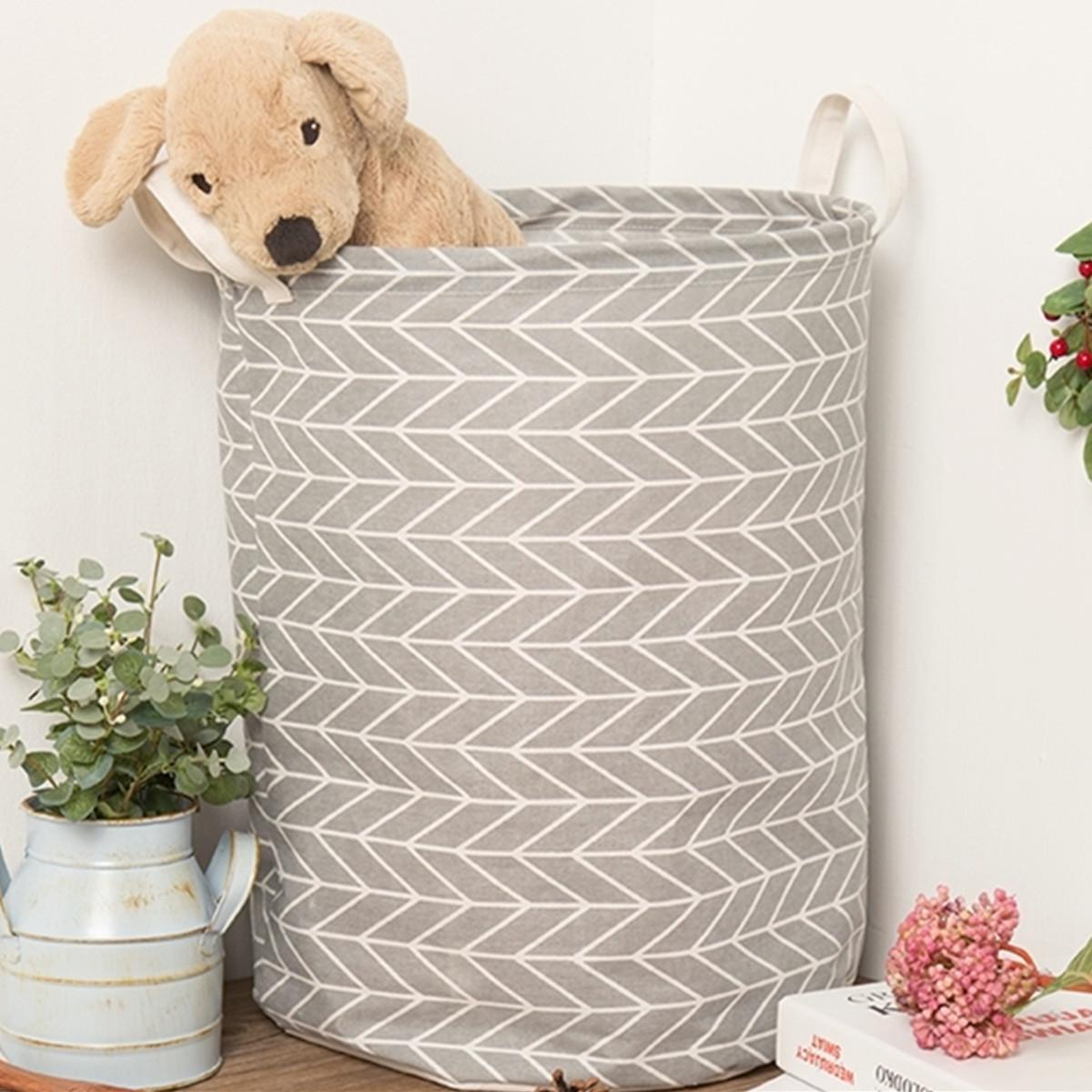 Grtsunsea Foldable Cotton Linen Dirty Washing Clothes Laundry Basket Hamper Toy Storage Organizer Case Bag Home Bathroom Dormitory Househodl Decor
