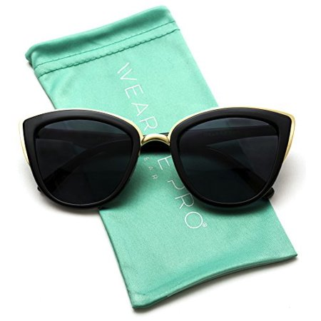 WearMe Pro - Womens Cat Eye Mirrored Reflective Lenses Oversized Cateyes (Oversized Cat Eye Sunglasses)