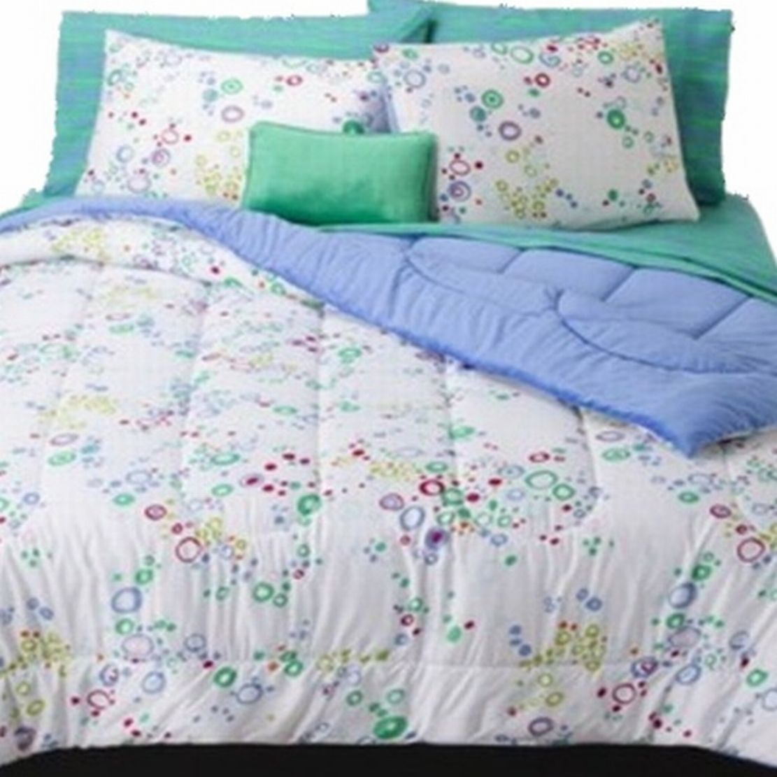 Full Bed In Bag Blue Bubble Dot Comforter Sheets Shams & Pillow