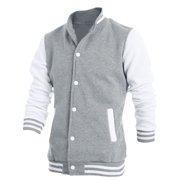 Men's Stand Collar Color Block Snap Fastener Baseball Jacket (Size M / 40)