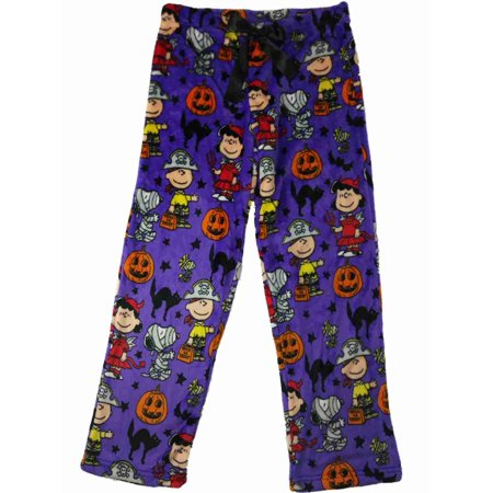 Peanuts Womens Charlie Brown Snoopy Sleep Pants Halloween Fleece Pajama Bottoms  - Size - Small - Peanuts Halloween Settings