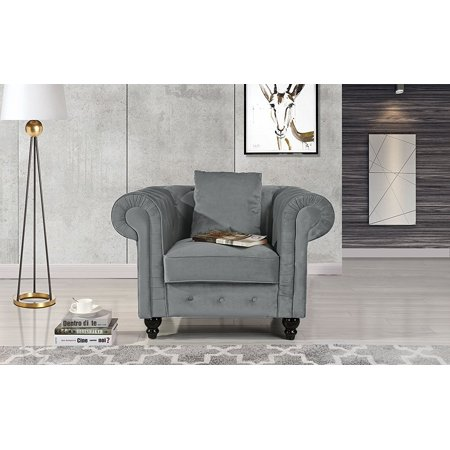 Classic Home Accent (Classic Scroll Arm Large Velvet Living room Chesterfield Accent Chair)