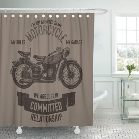 PKNMT Vintage Hand Drawn Motorcycle Quote Biker Garage Ink Lettering Logotype Old Parts Waterproof Bathroom Shower Curtains Set 66x72 inch