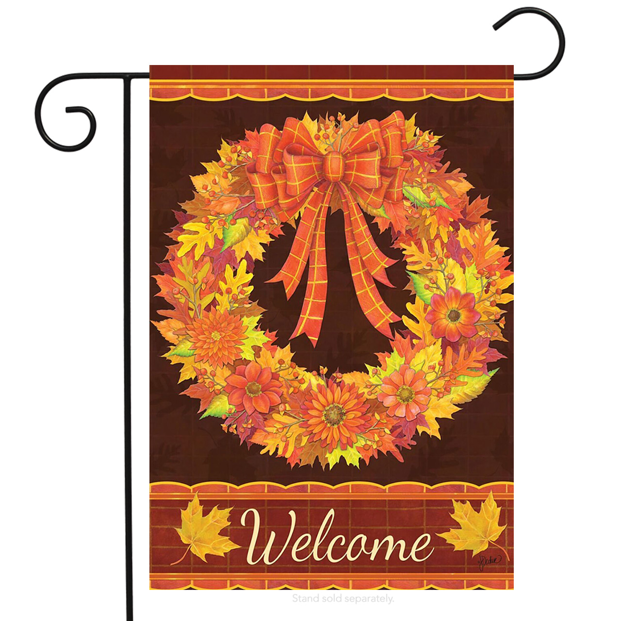 "Fall Wreath Garden Flag Welcome Autumn Leaves Floral 12.5"" x 18"" Briarwood Lane"