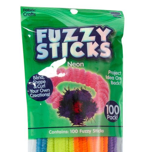 Kids Craft 100pk Fuzzy Sticks, Neon