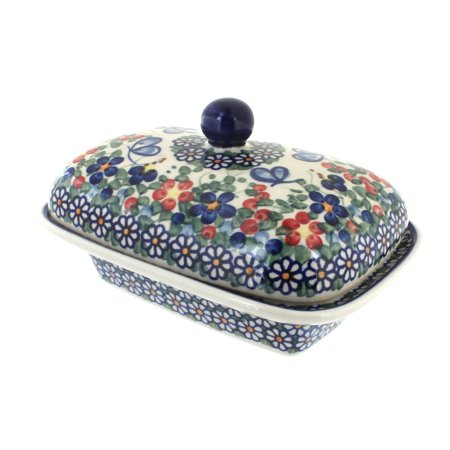 Polish Pottery Garden Butterfly Butter Tub