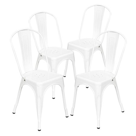 4pcs Industrial Style Iron Sheet Chair X-type Bracket Steel Chair for Restaurants Pubs Cafes (White) ()