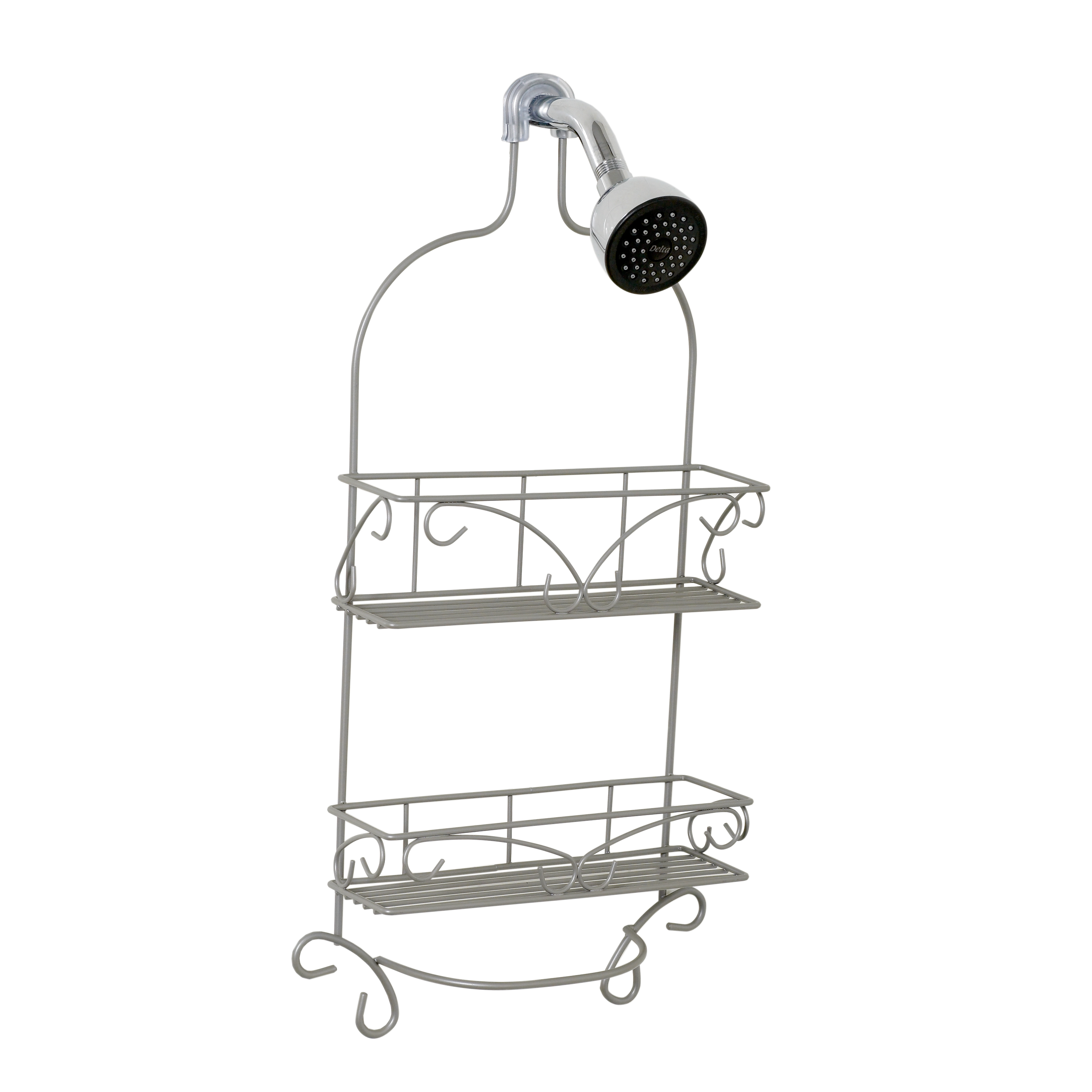 Zenna Home Scroll Shower Caddy, Satin Nickel