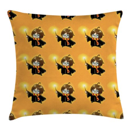 Wizard Throw Pillow Cushion Cover, Cartoon Wizard Character with Glasses in Costume Frock with Magical Wand Print, Decorative Square Accent Pillow Case, 16 X 16 Inches, Orange Black, by - Cartoon Character Costume