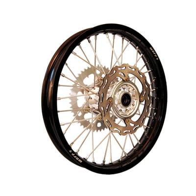 Warp 9 Complete Wheel Kit - Rear 19 x 2.15 Black Rim/Silver Hub/Silver Spokes and Nipples for Husqvarna FE 250 2014-2018