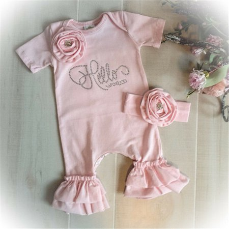 Newborn Baby Girl 3D Flowers Romper Bodysuit Jumpsuit Headband Outfit Clothes Flowers 18 Months