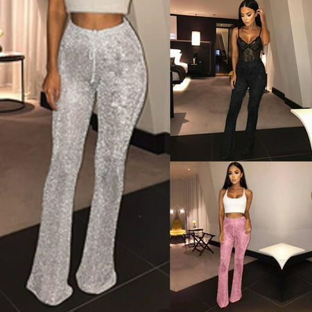 Sexy Women Bell Bottom Long Pant Sequin High Waisted Clubwear Party Trouser