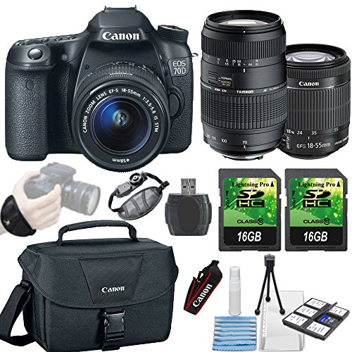 Canon EOS 70D 20.2MP DSLR Camera + Canon 18-55mm IS STM Lens + Tamron 70-300mm Lens + 2 piece 16GB Memory... by Paging Zone