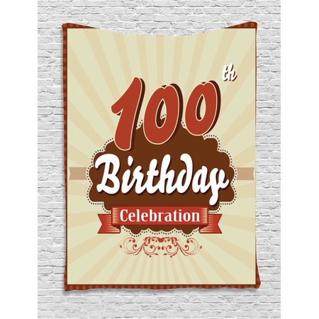 100th Birthday Decorations Tapestry, Chocolate Wrap Like Brown Party Invitation Hundred Years, Wall Hanging for Bedroom Living Room Dorm Decor, 40W X 60L Inches, Cinnamon and Cream, by Ambesonne