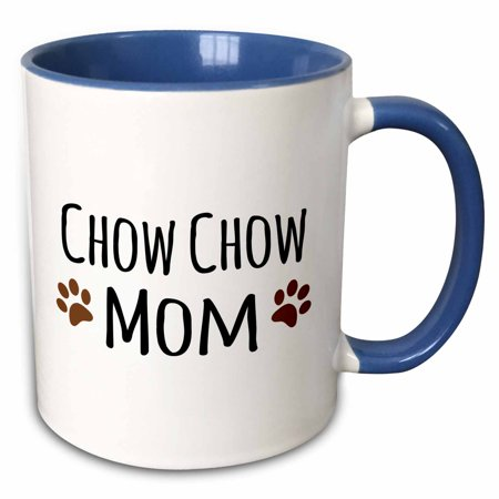 3dRose Chow Chow Dog Mom - Doggie by breed - brown muddy paw prints love - doggy lover - proud pet owner - Two Tone Blue Mug,