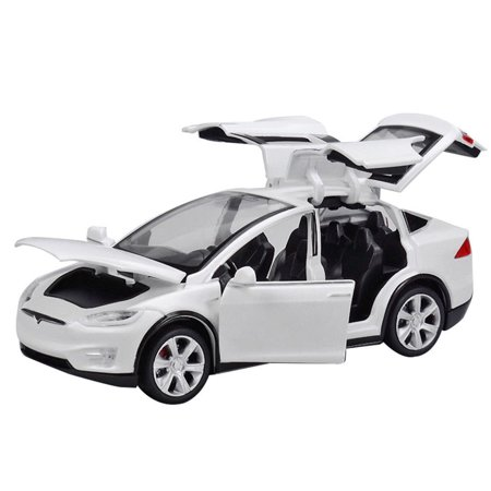 Diecast Toy 1:32 Scale Alloy Cars for Tesla Toy Model SUV Car Sound & Light Toy Kids Toys Scale Model Car Parts