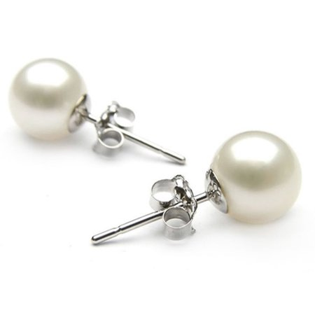 Genuine 8.5-9mm White Freshwater Cultured Pearl Button Studs Earrings In 925 Sterling Silver ()