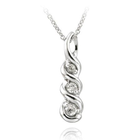Sterling Silver 1/8ct TDW White Diamond Journey Necklace