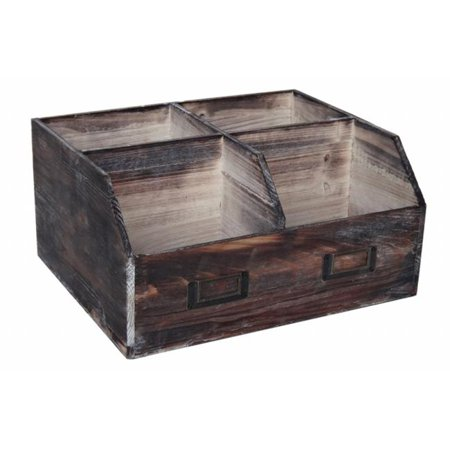 Cheung s  Wooden Organizational box with 4 Storage Compartments and 2 Label Slots](Organizational Bins)